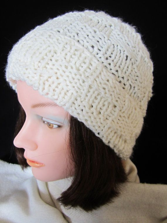 37cc4dd054d5f Ladies White Winter Hat -hand knit acrylic yarn. Handy for outdoor events    winter sports. A perfect gift for winter. A great holiday gift