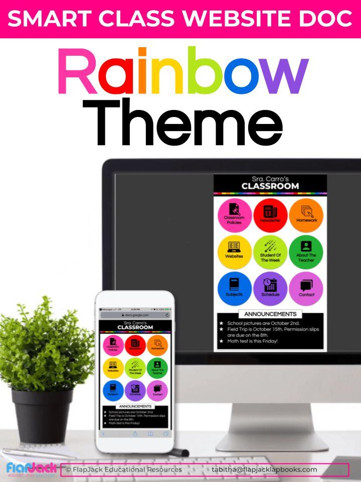 rainbow smart class website doc google slides style