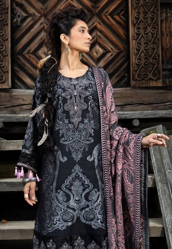 924a95e624 Latest Maria B Winter Linen Dresses Collection 2018-2019