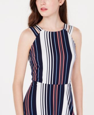 Bcx Juniors' Double-Strap Striped Dress - Navy/Pink Stripe L