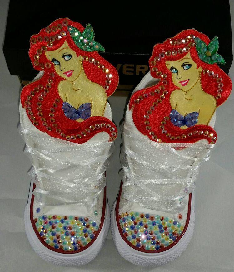 b93e5df3cb99 Girls Custom Converse- Kids Converse- Bling Converse- The Little Mermaid  Converse- Ariel Converse- Princess Converse- Frozen- Minnie Mouse