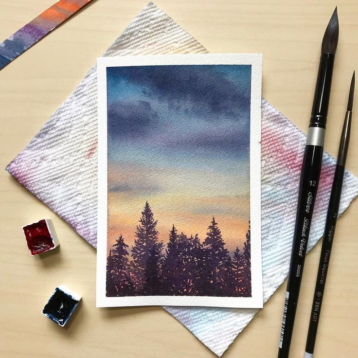 """I painted this little 4""""x6"""" painting based on a picture I took of a sunset recently. I thought the sky was beautiful since it appeared…"""