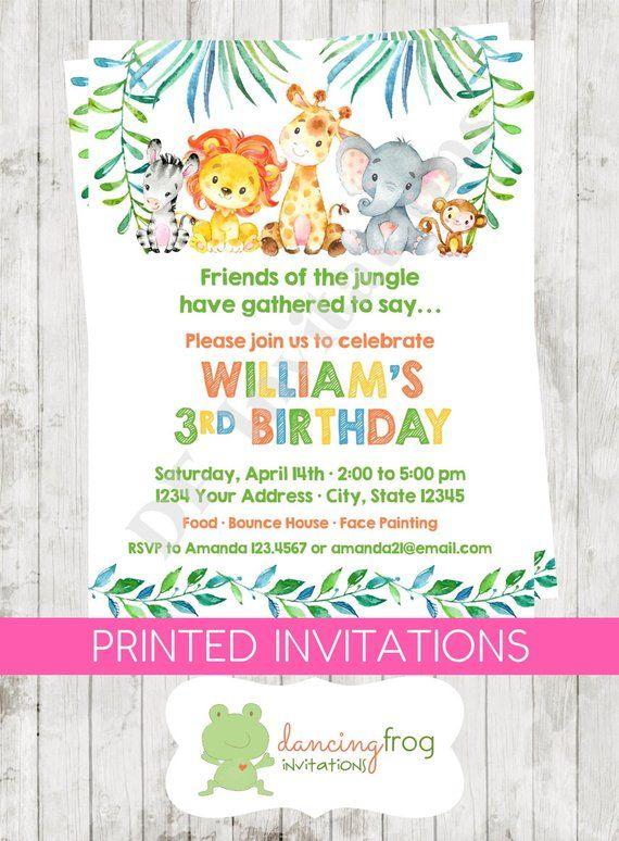 Custom Printed 425X55 Watercolor Wild Animals Jungle Safari Boy Birthday Invitations Envelop