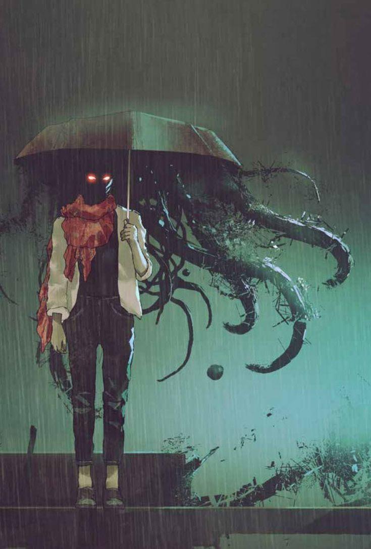 Esoterica RPG - urban fantasy writing inspiration art character protagonist hero villain antagonist  profile prompt setting story beautiful inspiring gorgeous fantasy magic dark tentacles umbrella rain monster demon