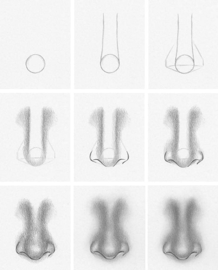 Como desenhar um nariz pela frente - 7 passos fáceis