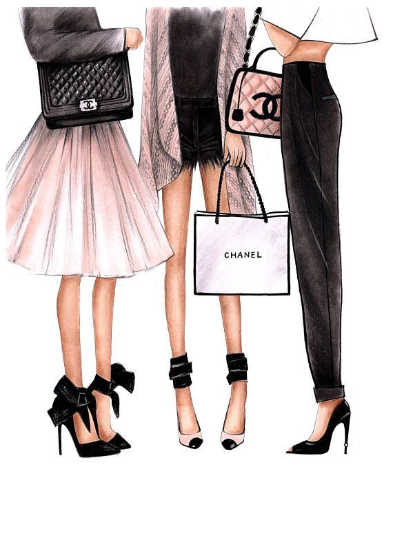 Fashion Illustration Chanel art Chanel print Fashion wall art Coco chanel art Chanel poster Chanel art print Chanel home decor Chanel girls