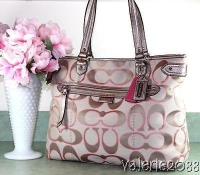 908106b93347 ... wholesale coach daisy emma khaki gold signature pink shimmer glam large  tote bag purse . edec0