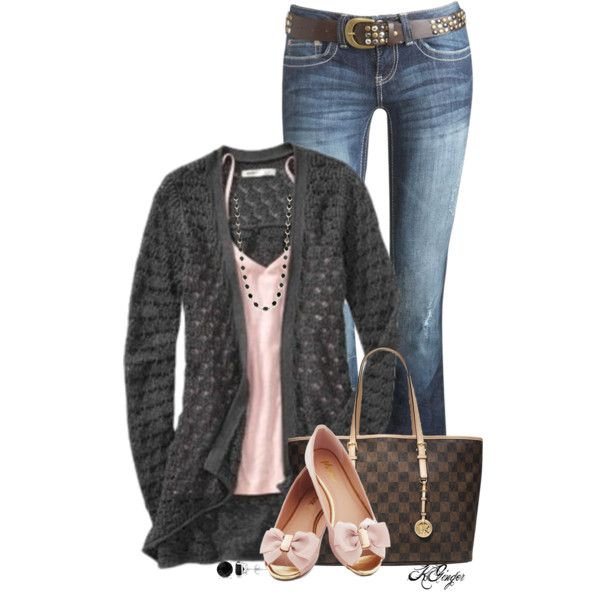 """Gray n' Pink Casual Fall Style"" by kginger on Polyvore"