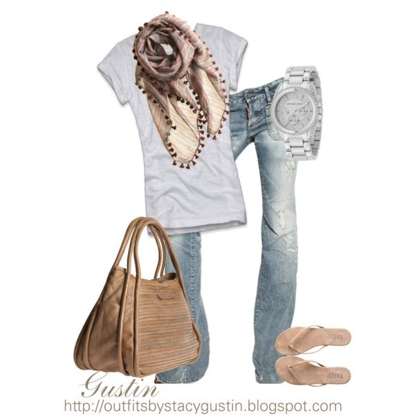 laid back, easy...faded jeans, white tshirt, and sand colored accessories