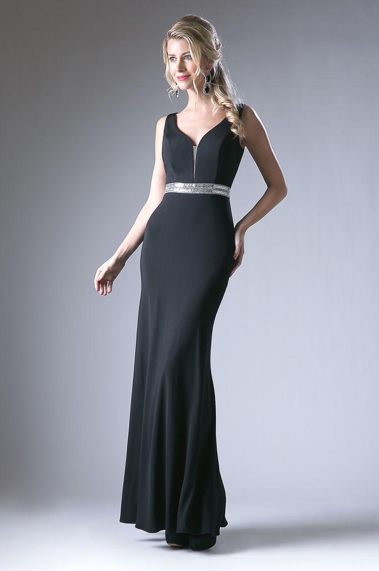96e11860f0c V-Neck Evening Dress with Beaded Waist by Cinderella Divine CH516
