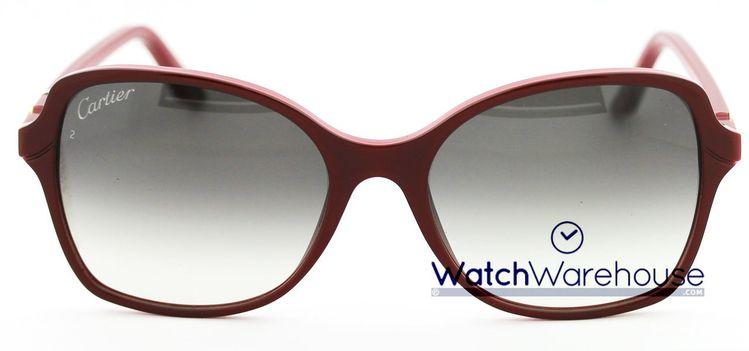 a663ace6a5d Cartier Double C Décor Burgundy Composite Women s Sunglasses ESW00108