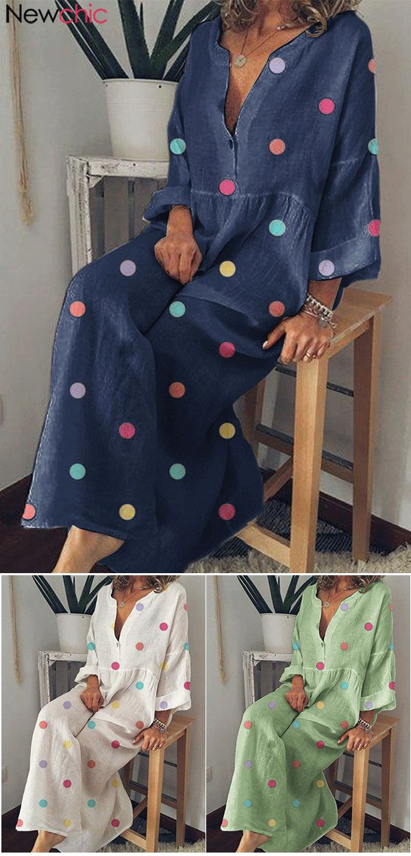 Multicolor Polka Dot Print Long Sleeve Maxi Dress