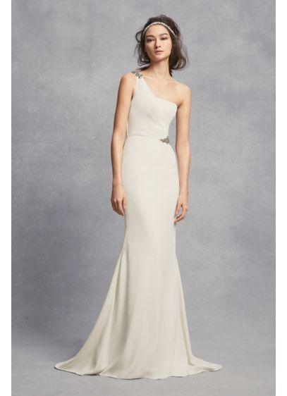 399131b0ccb One-Shoulder Sheath Wedding Dress with Crystals VW351434