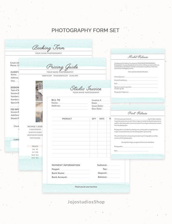 photography contract bundle invoice photography forms set booking template contract photographer