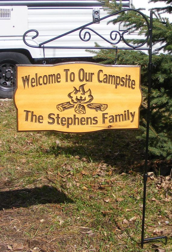 Welcome To Our Campsite On The Metal Scroll Flag Holder