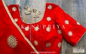 4a4684de3580e0 Red Gota Patti Saree with Red Blouse by Label Kanupriya | WhatsApp  9694496961 | www.