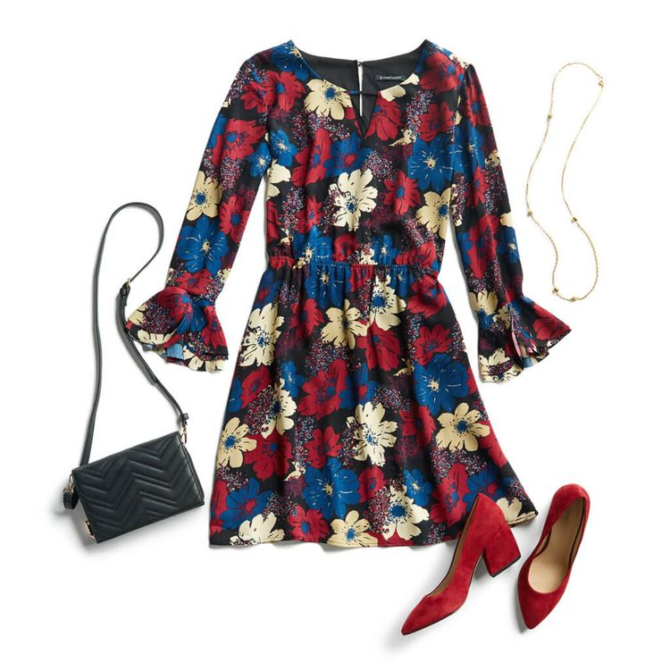 I like how fun this dress is and how different the sleeves are. They aren't too flowy but have a fun flair. I like the color pattern a lot too!