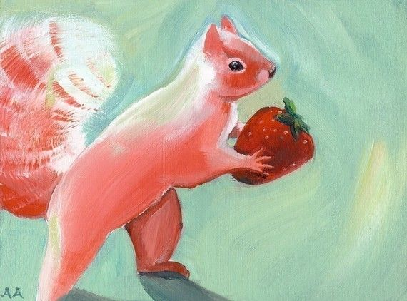 """Jane Steals a Strawberry""...Pink Squirrel Art by amberalexander, $20.00"