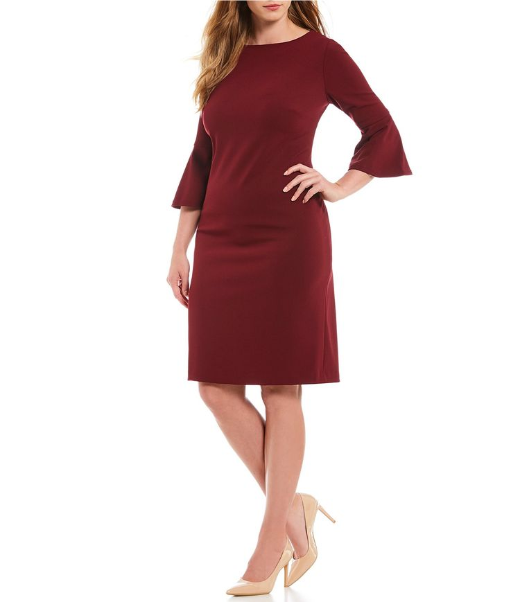 b9d3d164b2 Calvin Klein Plus Size Round Neck Bell Sleeve Sheath Dress