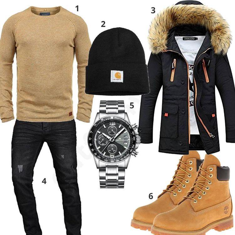 Beige-Schwarzes Herrenoutfit mit Jacke und Mütze  beige  schwarz   timberland  carhartt  winter  herbst  outfit  style  herrenmode   männermode  fashion ... 8028899b93