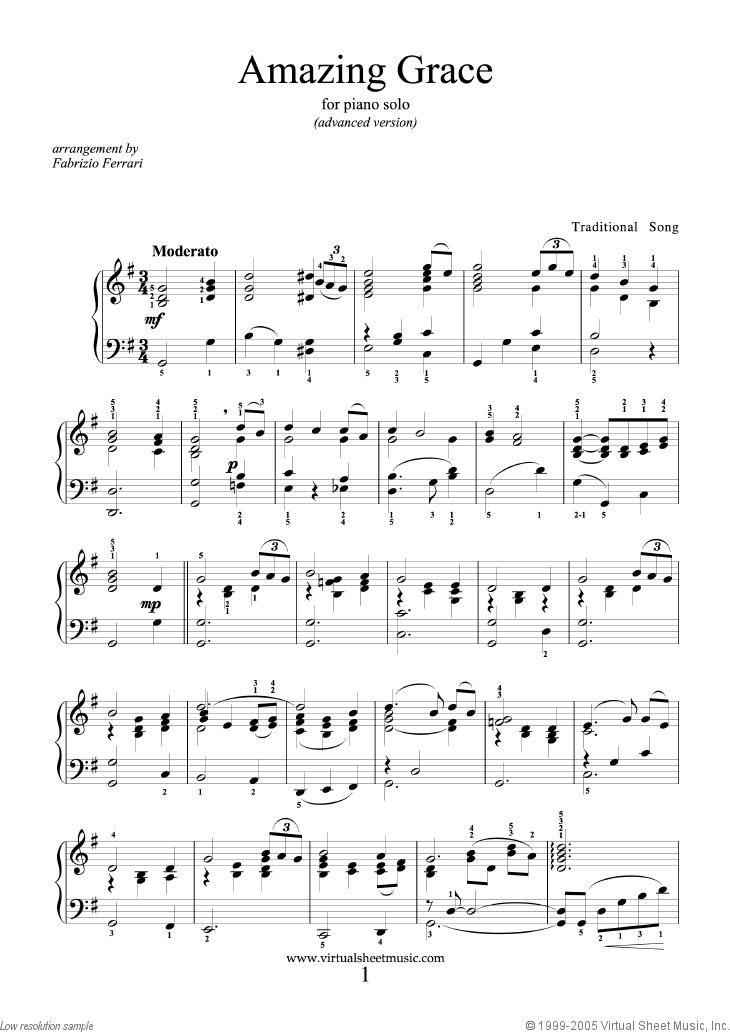Amazing Grace Advanced Version Sheet Music For Piano Solo