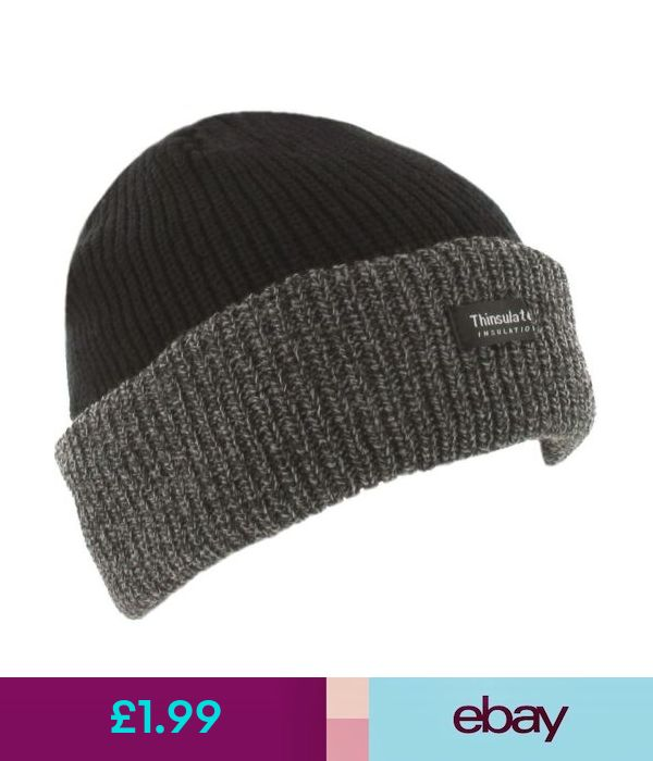 a612dd2c1b827 Hats Black   Grey Mens Winter Work Chunky Beanie Thinsulate Thermal Lined  Ski Hat Cap