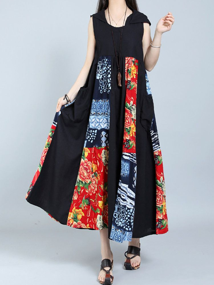 66630cbfcd611 Gracila Vintage Patchwork Sleeveless Hooded Women Maxi Dresses