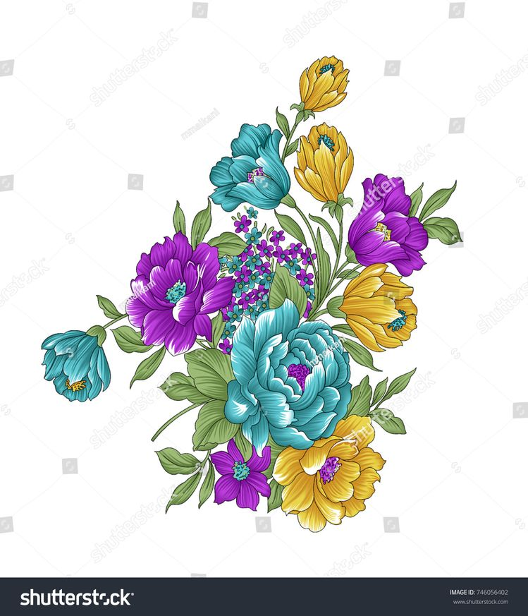 Floral bunch on white background