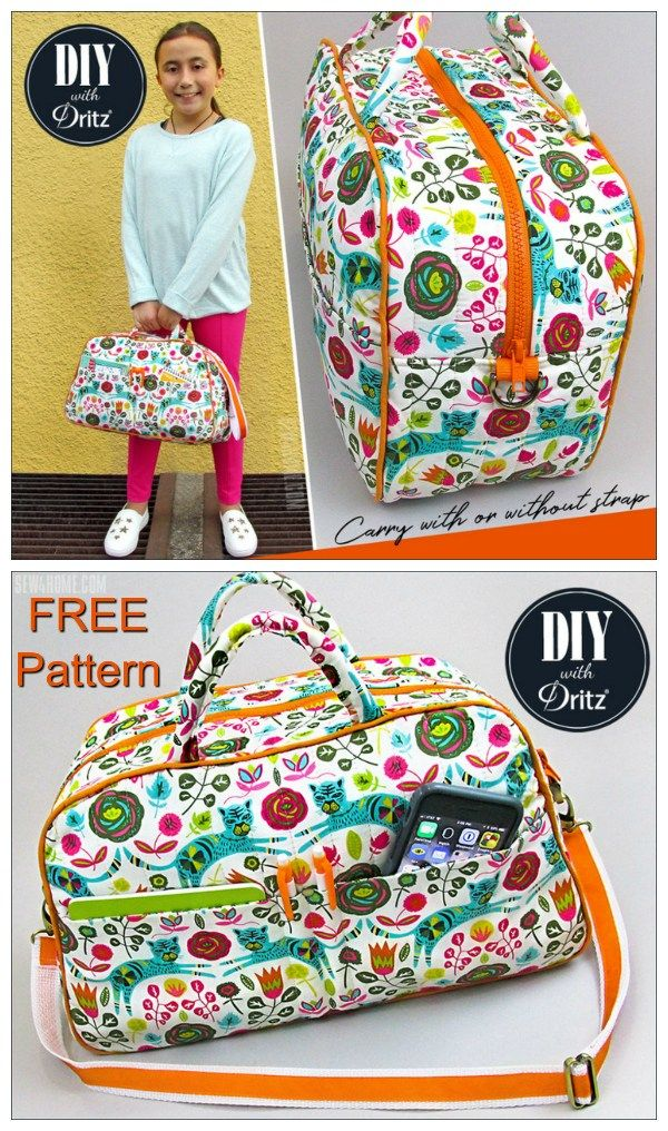 Free duffle bag or bowling style bag sewing pattern. Small purse size or kids size duffle bag pattern. #DuffleBagSewingPattern #FreeSewingPattern #BagSewingPattern #BowlingBagPattern #FreeBagPattern #KidsBagPattern #DuffleBag