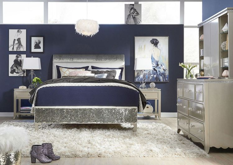 Glitz And Glam Upholstered Mermaid Bedroom Set Enchanting Bedroom Set Names Collection