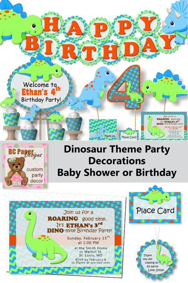 Dinosaur Decorations For Birthday Party Or Baby Shower