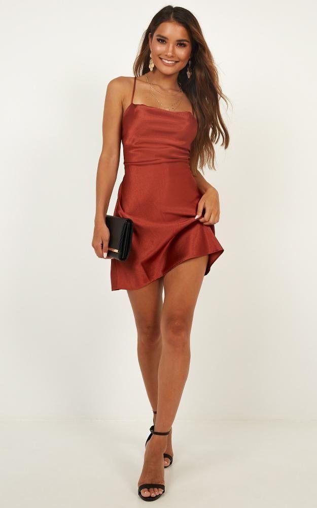 Dress Ups Dress In Rust Satin | Showpo