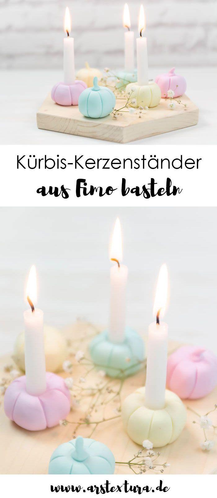 Kurbis Kerzenstander Aus Fimo Basteln