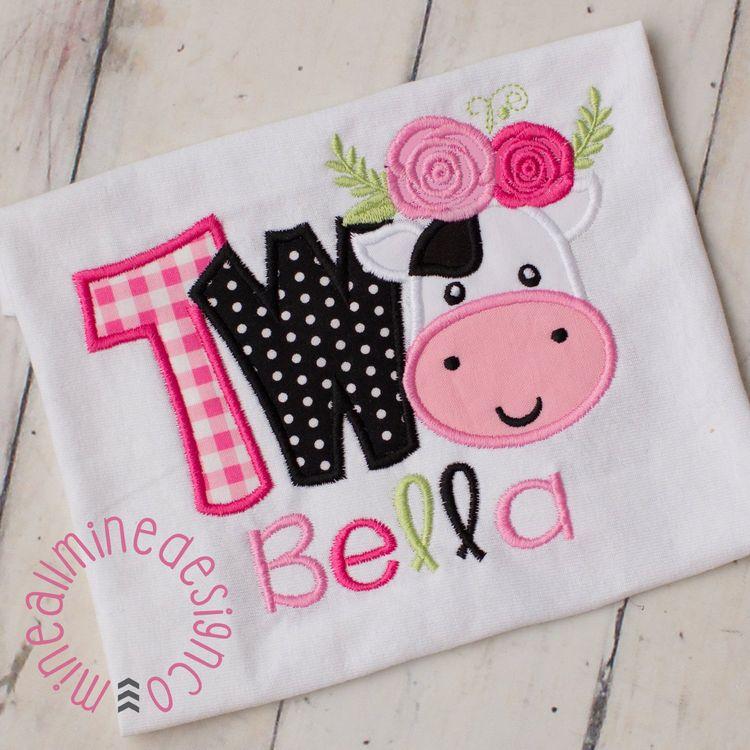 Girls Farm Cow Barnyard Personalized Birthday Shirt 2nd B