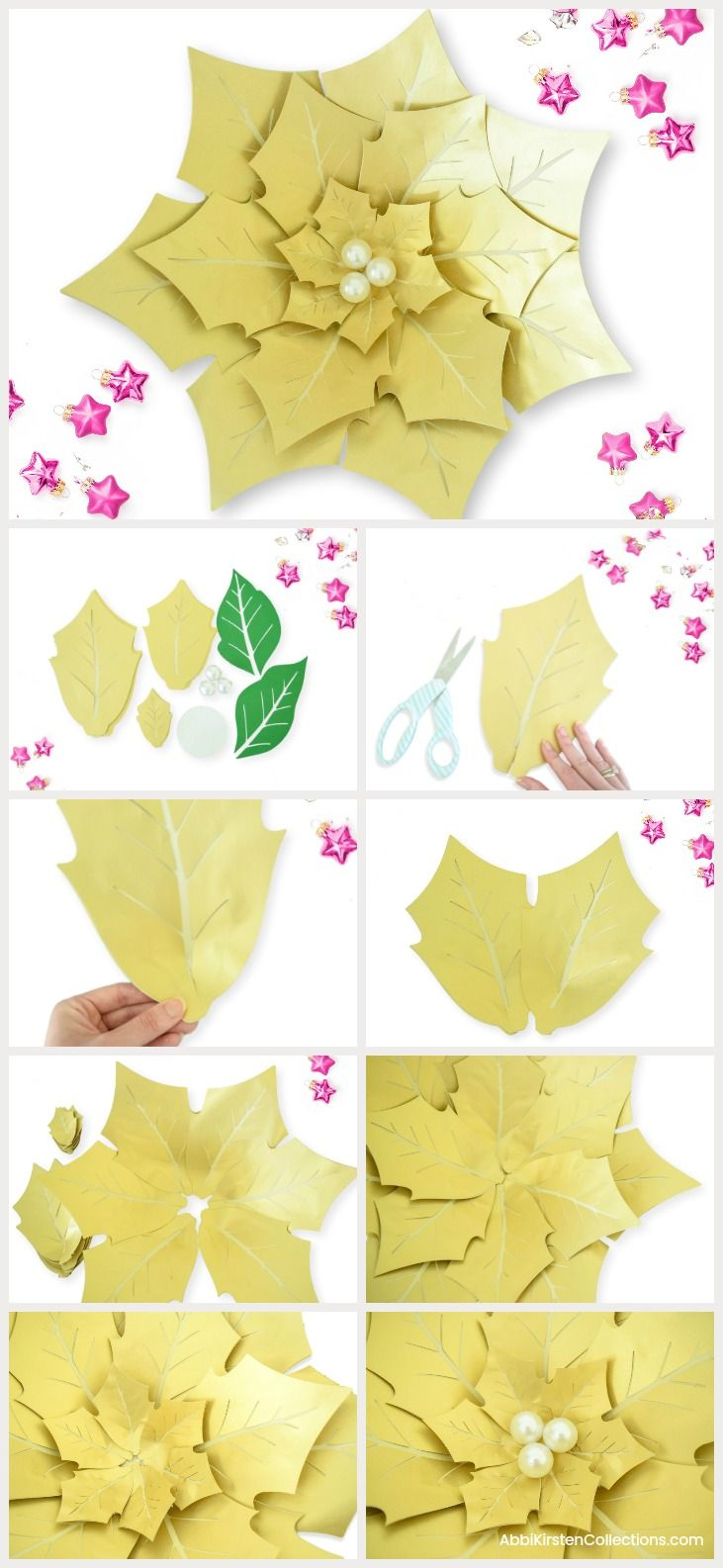 diy giant christmas paper poinsettia template and tutorial