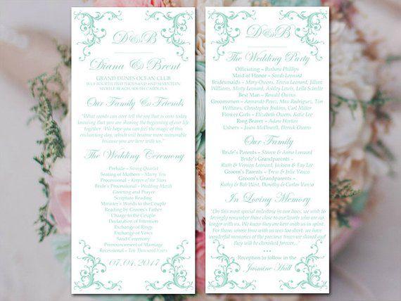 Wedding Program Printable Order Of Service Sea Foam Template Tea Length Timeline IN