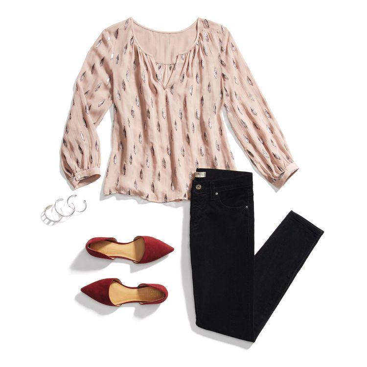 Stitch Fix Stylist, Lauren--simple yet elegant. Love pointy toed flats! Black skinnies...oh yeah