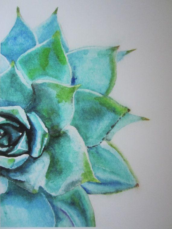 Blue Green Succulent Watercolor Print