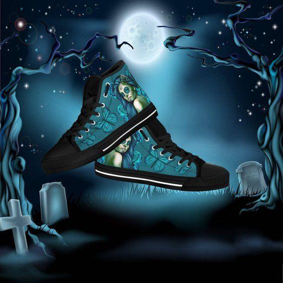 de3fe92f080b Calavera Women s High Top Canvas Shoes - Day Of The Dead   Dia De Los  Muertos   Halloween Design  2