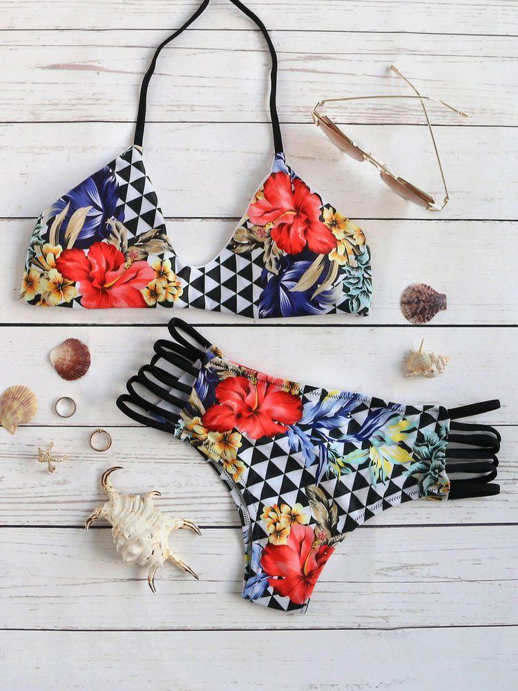 8cfba91b1a Shop Floral Print Ladder Cutout Halter Bikini Set online. SheIn offers  Floral Print Ladder Cutout Halter Bikini Set & more to fit your fashionable  needs.