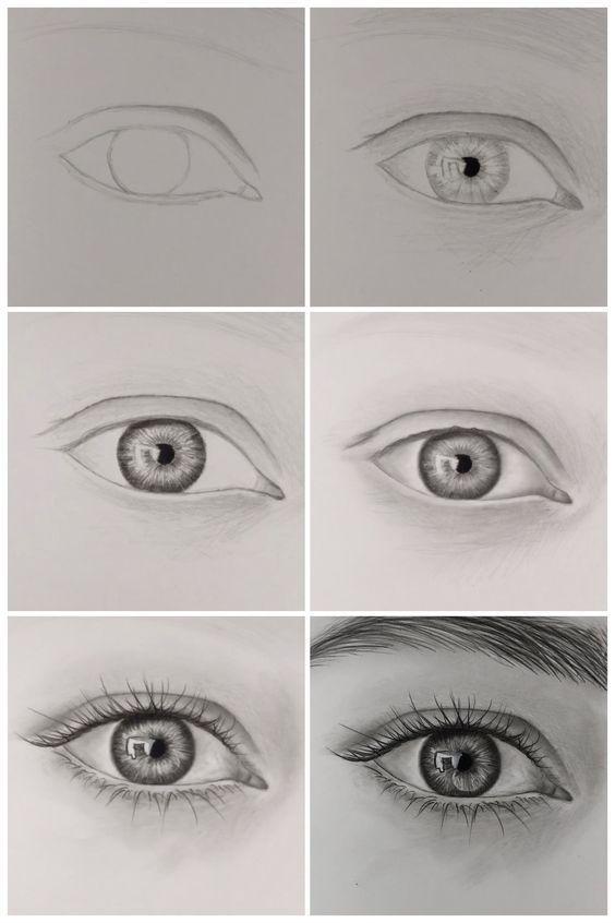 como desenhar olhos realistas passo a passo.  visite meu canal do youtube para saber mais sobre desenho e coloração