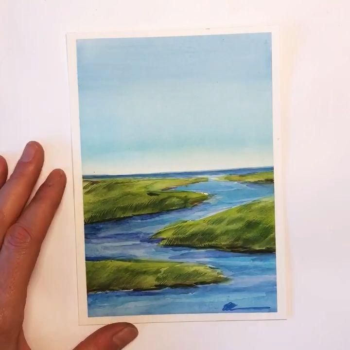 Watercolor coastal painting