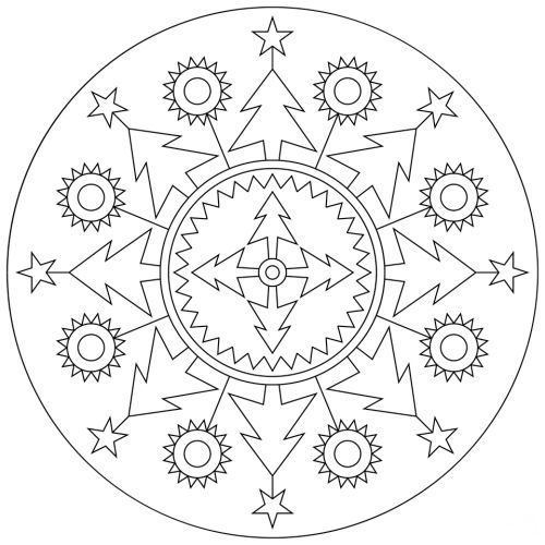 Coloriage Mandala Noel.Coloriage Mandala Noel Quatre Sapins Au Milieu