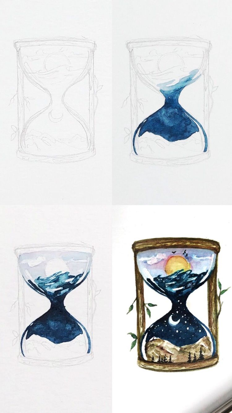 Watercolor Tutorial  #moon A mini tutorial of a watercolor hourglass illustration with step by step process photos.  #tutorial #sketchbook #drawingtutorial #drawingtips #sketching #artteacher #artteachersofinstagram #arttutorials #arttechniques #doodleart #doodles