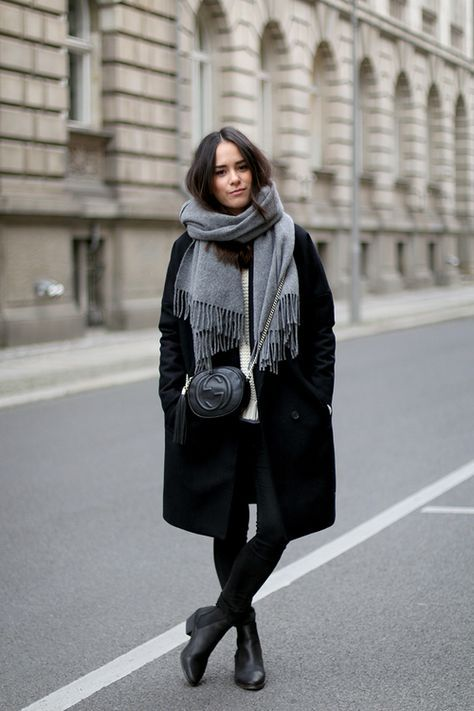 classic winter style // grey scarf, black coat, crossbody bag & boots #style #fashion
