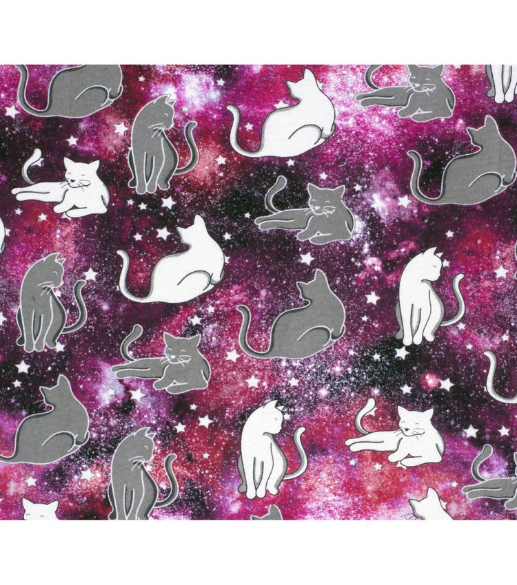 Super Snuggle Flannel Fabric Kitties in Space