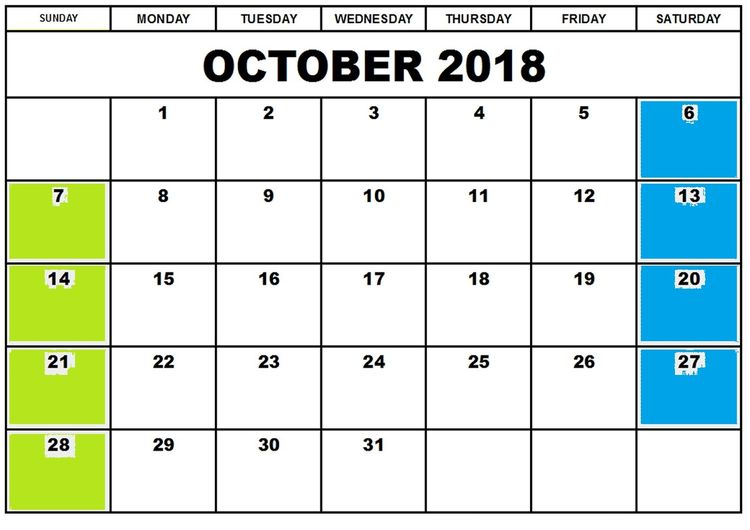 October 2018 Calendar Template With Holidays For Usa Uk A
