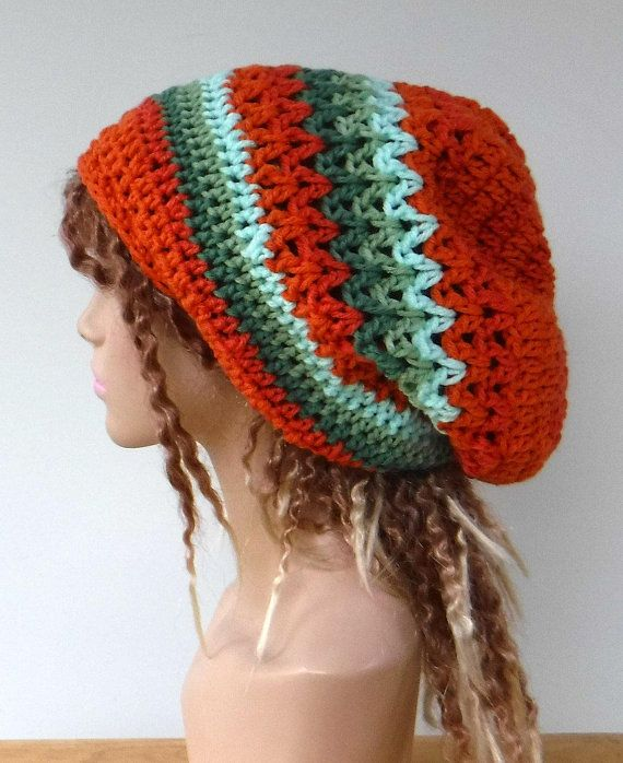2bb708f9928920 Slouchy beanie/orange green slouchy hat/woman dread tam hat/handmade crochet  dreadlocks