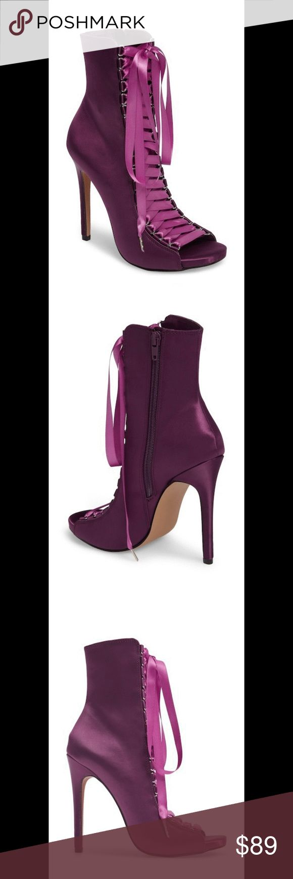 0426900ef8b3 NWT! Steve Madden Fuego Lace-Up Bootie Sexy purple satin peep-toe stiletto  bootie finished with lustrous satin ribbon laces. - 5