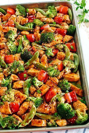 Sheet Pan Sesame Chicken and Veggies - Eat Yourself Skinny